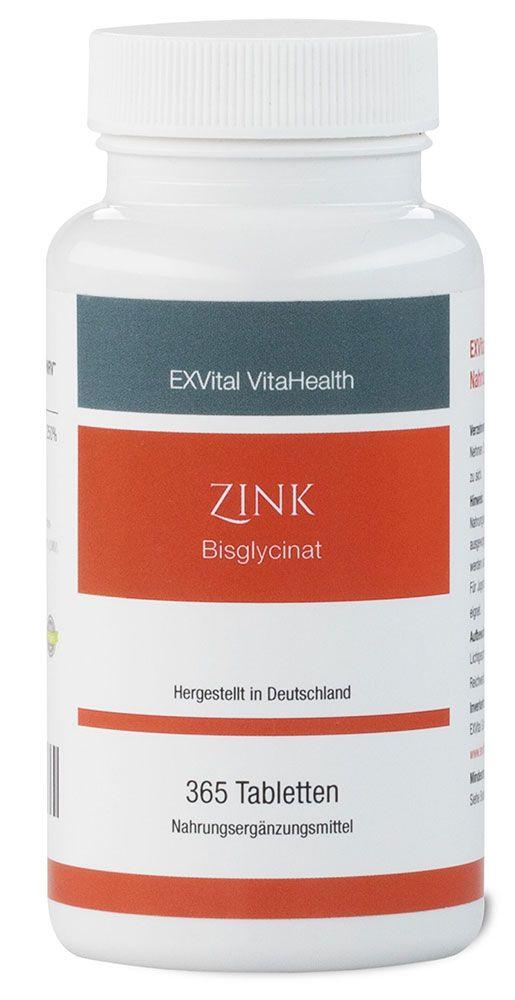 Zink Tabletten? 25 mg Zink-Bisglycinat von EXVital Vitahealth, 365 vegane Tab...