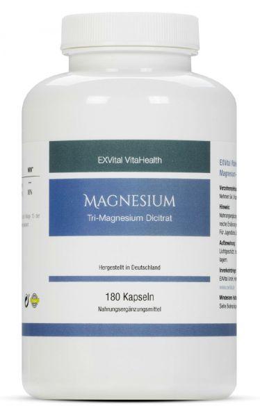 Tri-Magnesium Dicitrat hoch konzentriert von EXVital VitaHealth, 180 Kapseln