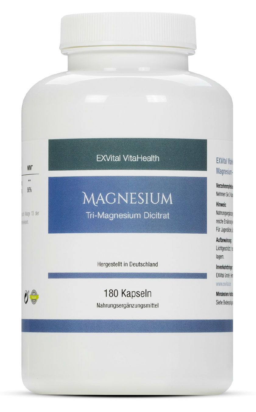 tri magnesium dicitrat hoch konzentriert von exvital vitahealth 180 kapseln exvital. Black Bedroom Furniture Sets. Home Design Ideas
