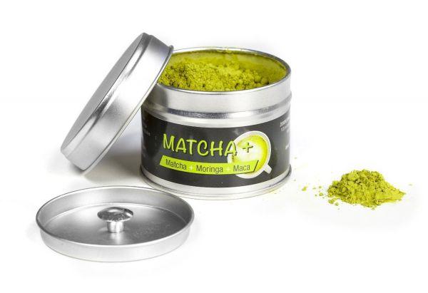Exvital Matcha+ : Matcha Tee+Moringa+Maca. 30g Pulvermischung in Premiumqualität. Original Matcha Tee gemixt mit Moringa und Maca, 1er Pack (1x30g)