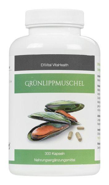 Grünlippmuschel 300 Kapseln- hoch konzentriert, EXVital VitaHealth, 300 Kapseln in deutscher Premiumqualität, kein Magnesiumstearat , 1er Pack (1x180g Dose)