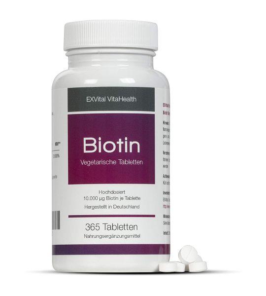 Biotin für Haare, Haut und Fingernägel hochdosiert von EXVital VitaHealth, 365 Tabletten