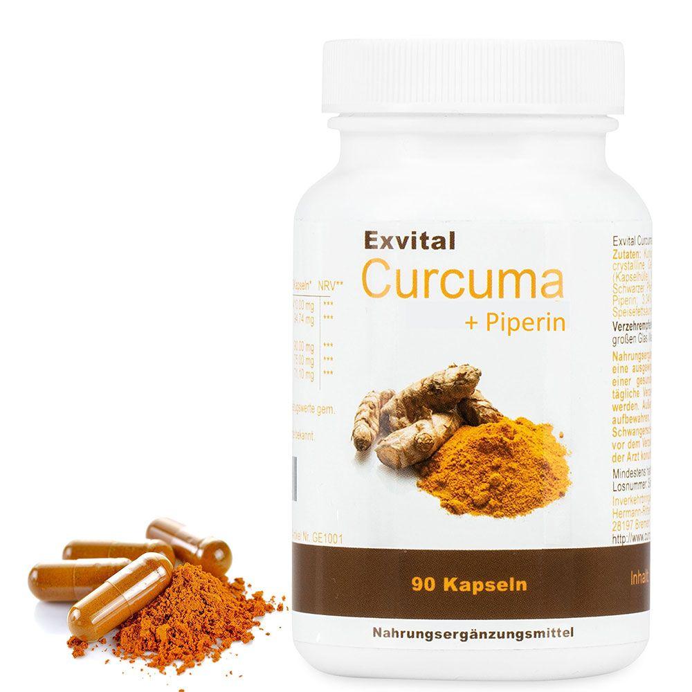 Curcuma + Piperin - Curcumin hochdosiert von EXVital, 90 Kapseln